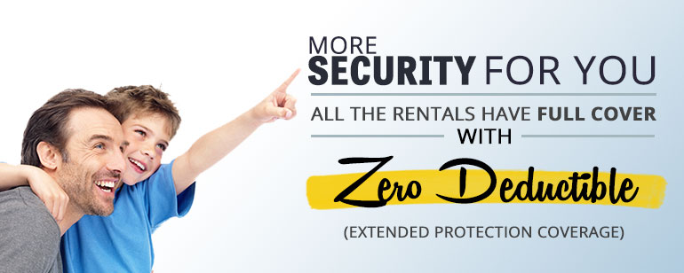 All the rentals have full cover with Zero Deductible